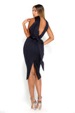 Portia & Scarlett Artisa navy Blue Bow Midi dress bodycon