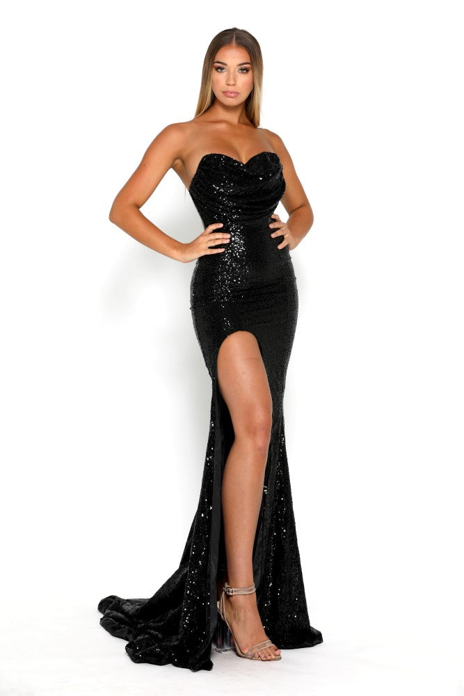 portia and scarlett diamond 5 draped bust thigh split mermaid train sexy evening dress black sequin