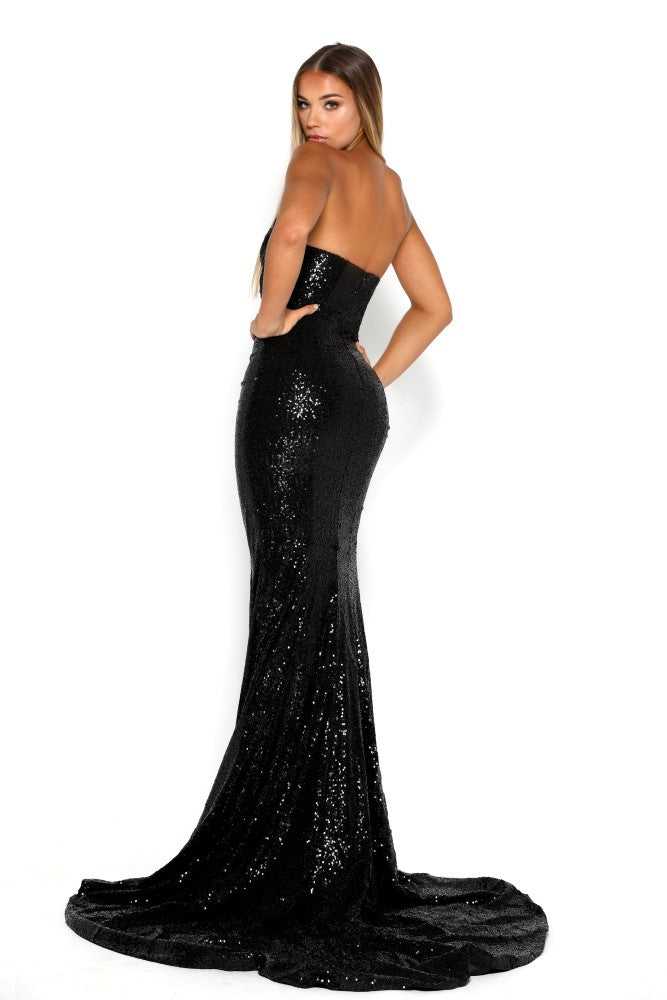 portia and scarlett diamond 5 draped bust thigh split mermaid train sexy evening dress black sequin mermaid dress