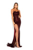 portia and scarlett diamond 5 draped bust thigh split mermaid train sexy evening dress burgundy