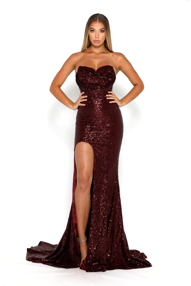 portia and scarlett diamond 5 draped bust thigh split mermaid train sexy evening dress burgundy front
