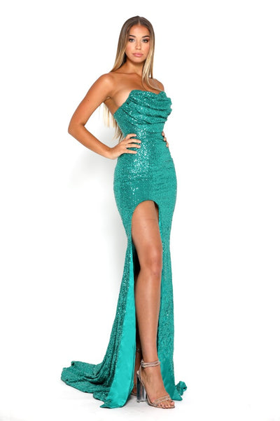 portia and scarlett diamond 5 draped bust thigh split mermaid train sexy evening dress emerald green