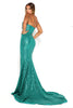 portia and scarlett diamond 5 draped bust thigh split mermaid train sexy evening dress emerald green side