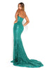 portia and scarlett diamond 5 draped bust thigh split mermaid train sexy evening dress emerald green back