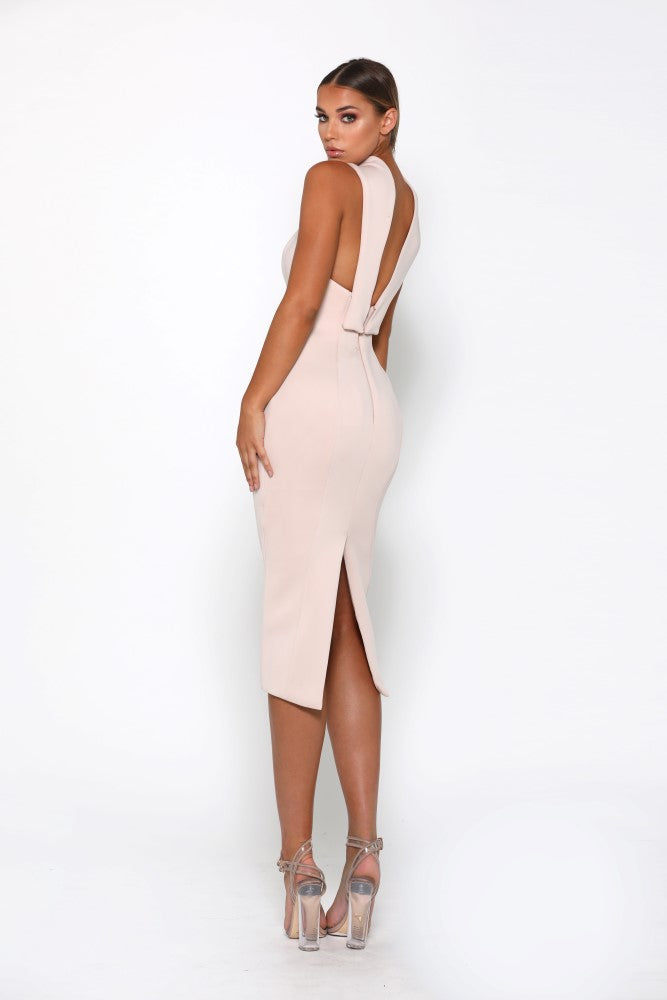 Portia & Scarlett Artisa Nude Bow Midi dress with halterneck