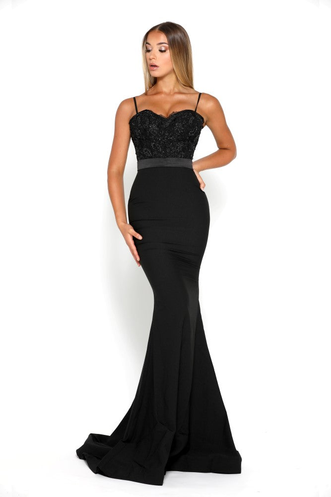 portia and scarlett frozen black spaghetti strap mermaid train evening gown at shaide