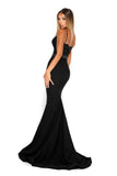 portia and scarlett frozen black spaghetti strap mermaid train evening gown at shaide second side