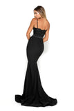 portia and scarlett frozen black spaghetti strap mermaid train evening gown at shaide back