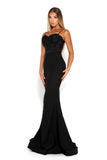 portia and scarlett frozen black spaghetti strap mermaid train evening gown at shaide side