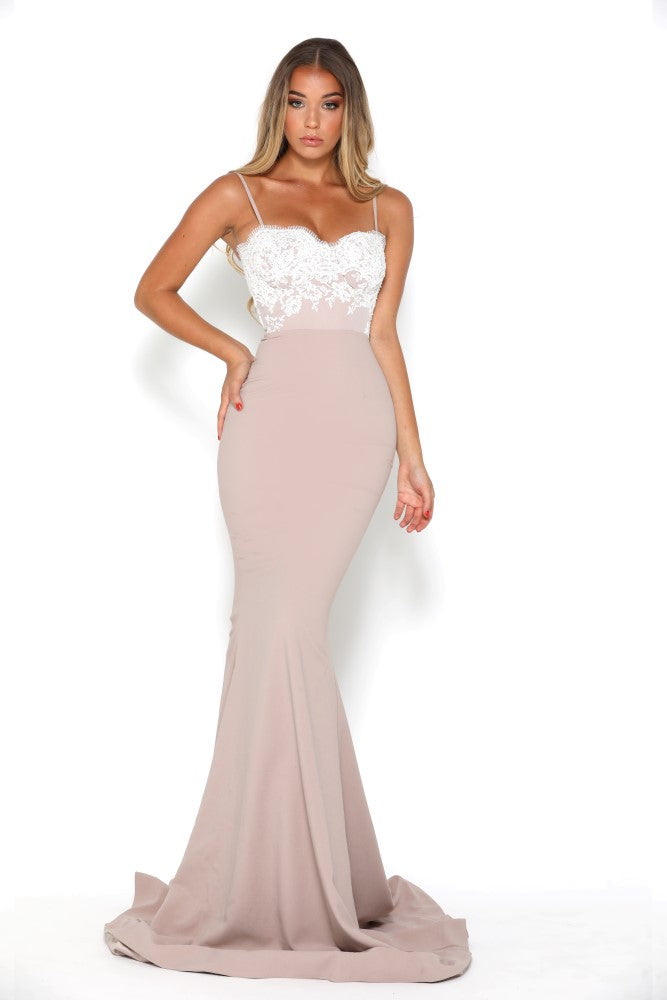 Portia and Scarlett Frozen Ivory and Stone lace bridesmaids dress at SHAIDE front