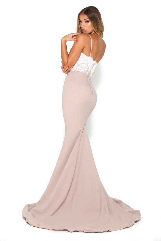 Portia and Scarlett Frozen Ivory and Stone lace bridesmaids dress at SHAIDE back