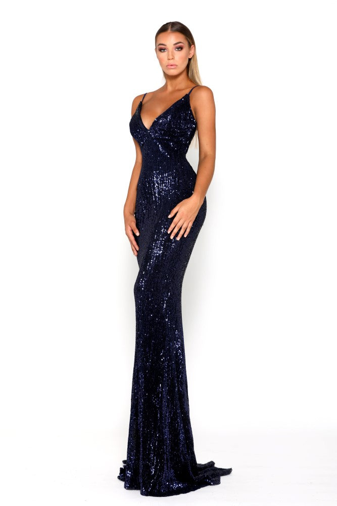 portia and scarlett glisten navy sequin prom dress