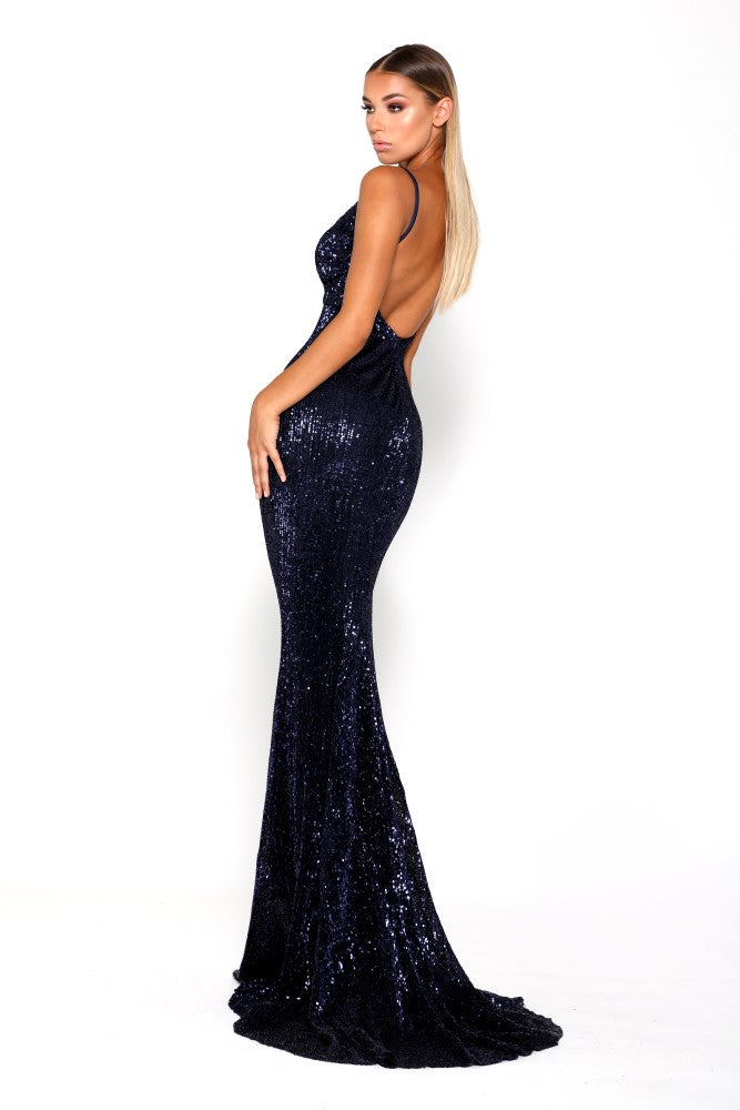 portia and scarlett navy sequin evening dress