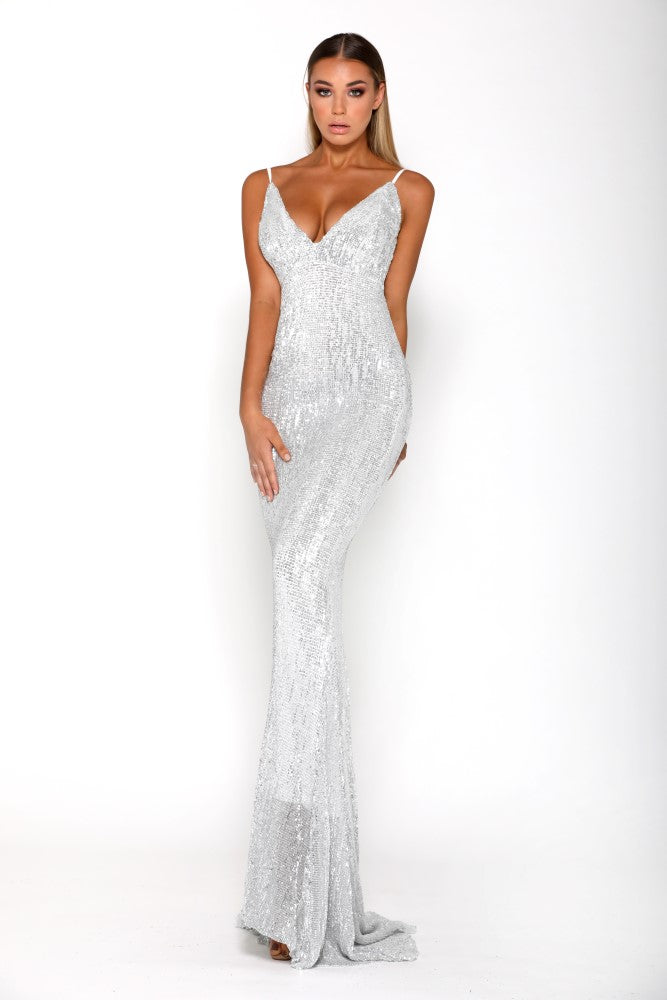 portia and scarlett glisten silver sequin evening dress