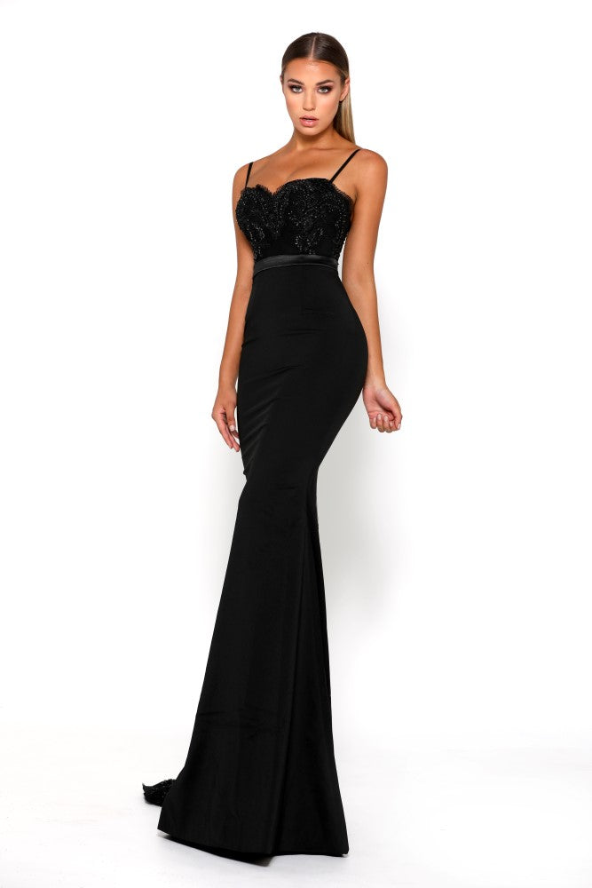 portia and scarlett lody sienna black crepe bodycon sexy bridesmaids dress with lace train from shaide boutique uk