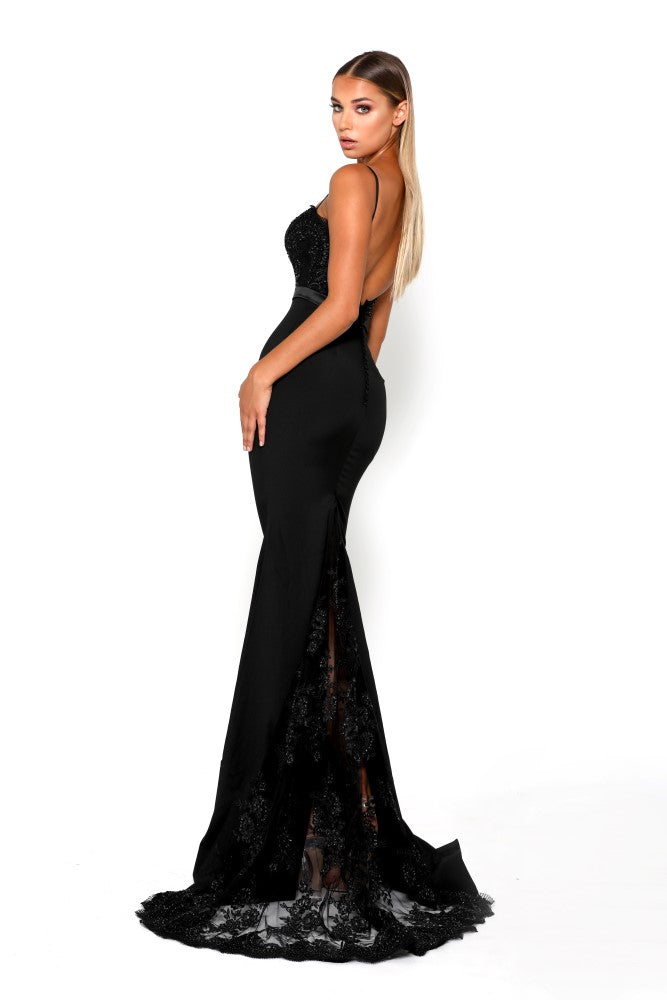 portia and scarlett lody sienna black crepe bodycon sexy bridesmaids dress with lace train from shaide boutique uk back