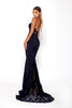portia and scarlett lody sienna navy sexy bridesmaids dress with lace train from shaide boutique uk side