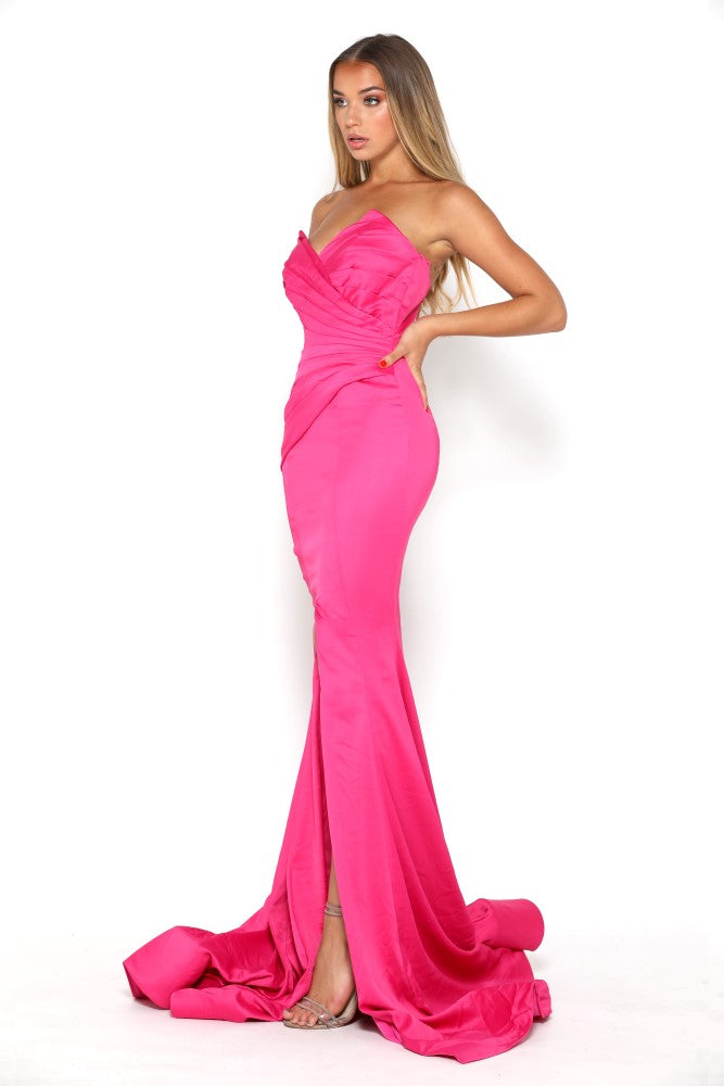 portia and scarlett stella pink fuscia strapless silky satin evening dress with sweetheart neckline and mermaid train front split side
