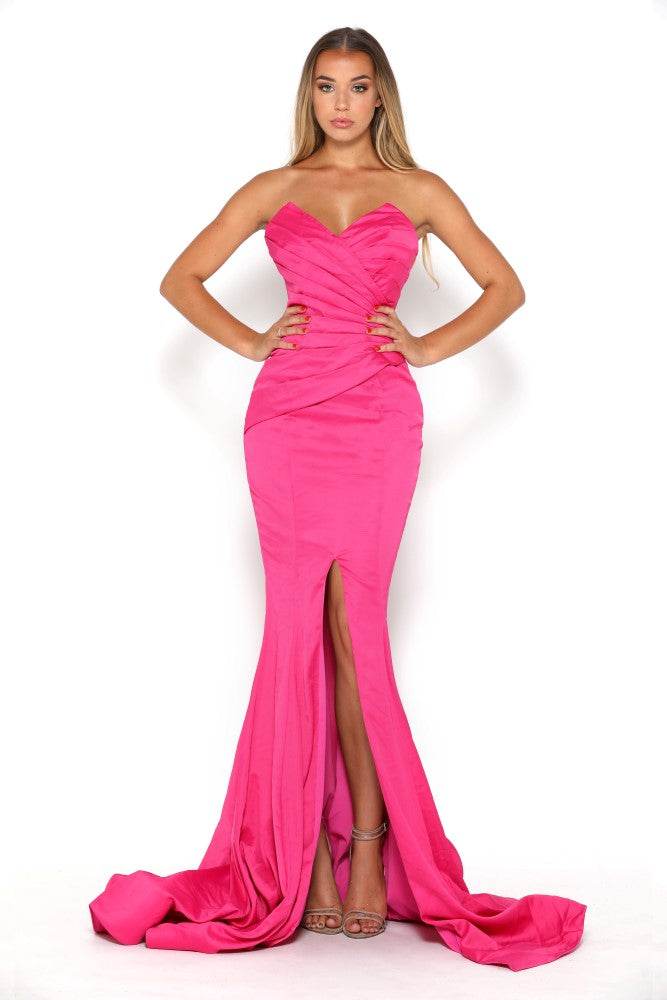 portia and scarlett stella pink fuscia strapless silky satin evening dress with sweetheart neckline and mermaid train front split