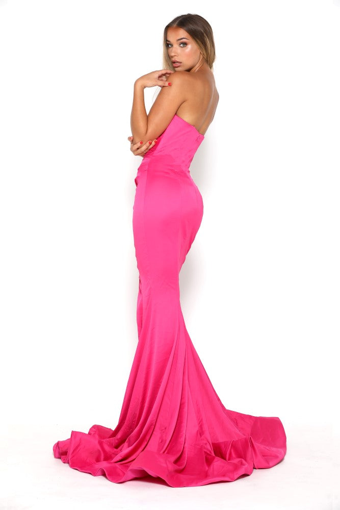 portia and scarlett stella pink fuscia strapless silky satin evening dress with sweetheart neckline and mermaid train front split back