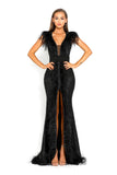 portia and scarlett fufu 1909 black belted ostrich feather prom dress at shaide boutique uk