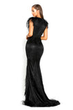 portia and scarlett fufu 1909 black belted ostrich feather prom dress at shaide boutique uk back