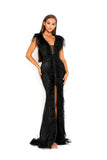 portia and scarlett fufu 1909 black belted ostrich feather prom dress at shaide boutique uk front left