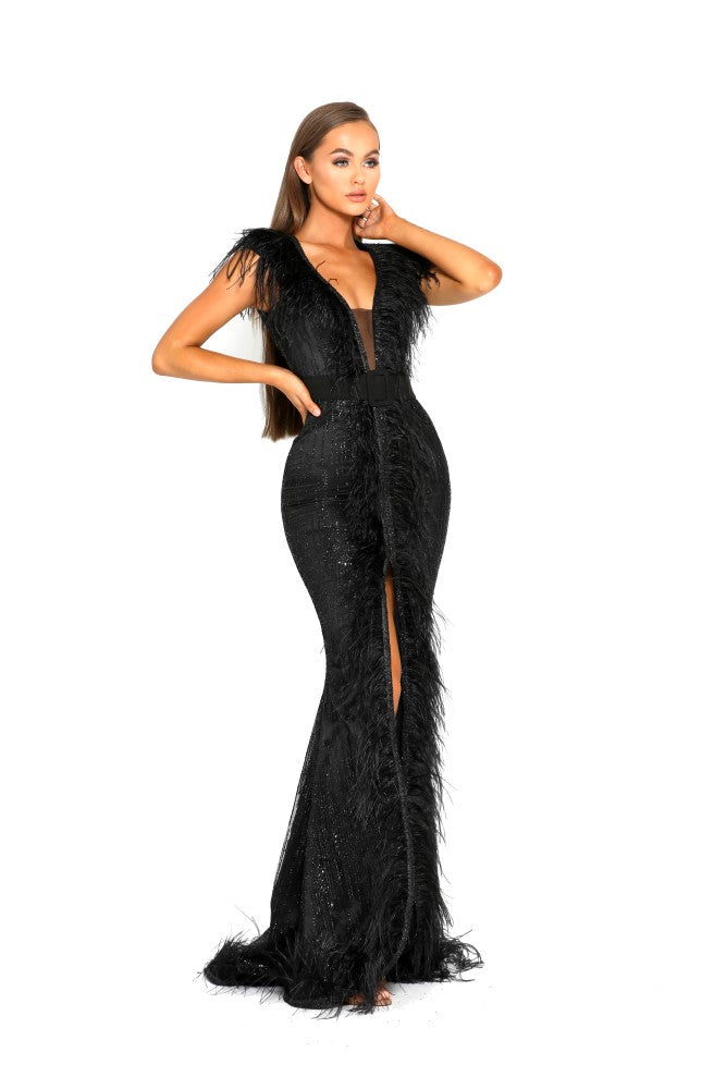 portia and scarlett fufu 1909 black belted ostrich feather prom dress at shaide boutique uk side