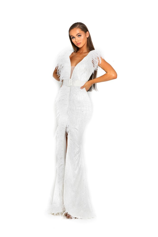 portia and scarlett fufu 1909 white belted ostrich feather prom dress at shaide boutique uk side