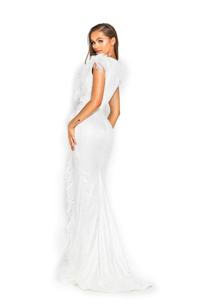 portia and scarlett fufu 1909 white belted ostrich feather prom dress at shaide boutique uk side back