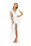 portia and scarlett fufu 1909 white belted ostrich feather prom dress at shaide boutique uk side right side