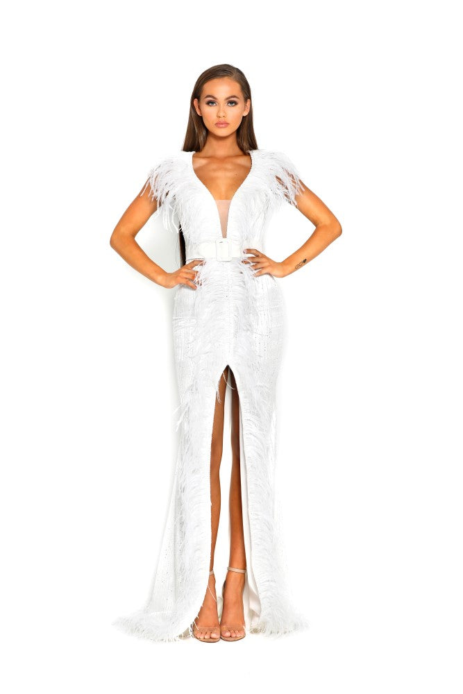 portia and scarlett fufu 1909 white belted ostrich feather prom dress at shaide boutique uk side front