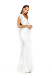 portia and scarlett fufu 1909 white belted ostrich feather prom dress at shaide boutique uk side side