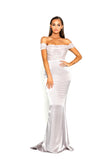 portia and scarlett bree draped bust gown in gold with mermaid train shaide boutique uk