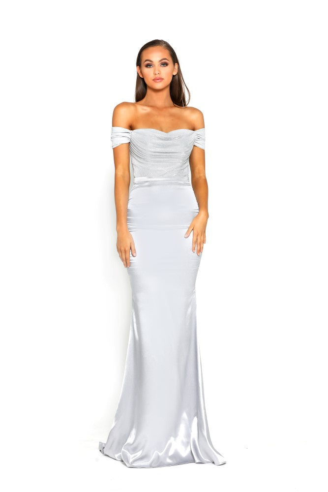 portia and scarlett bree draped bust gown in silver with mermaid train shaide boutique uk