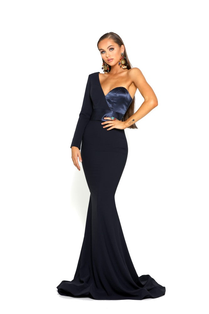 portia and scarlett ps1920 richie navy blue asymmetric sleeve bodycon mermaid train evening dress from shaide boutique london