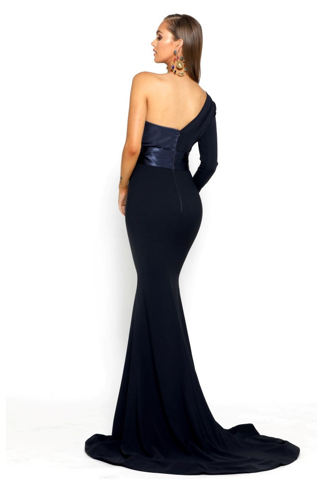 portia and scarlett ps1920 richie navy blue asymmetric sleeve bodycon mermaid train evening dress from shaide boutique london back