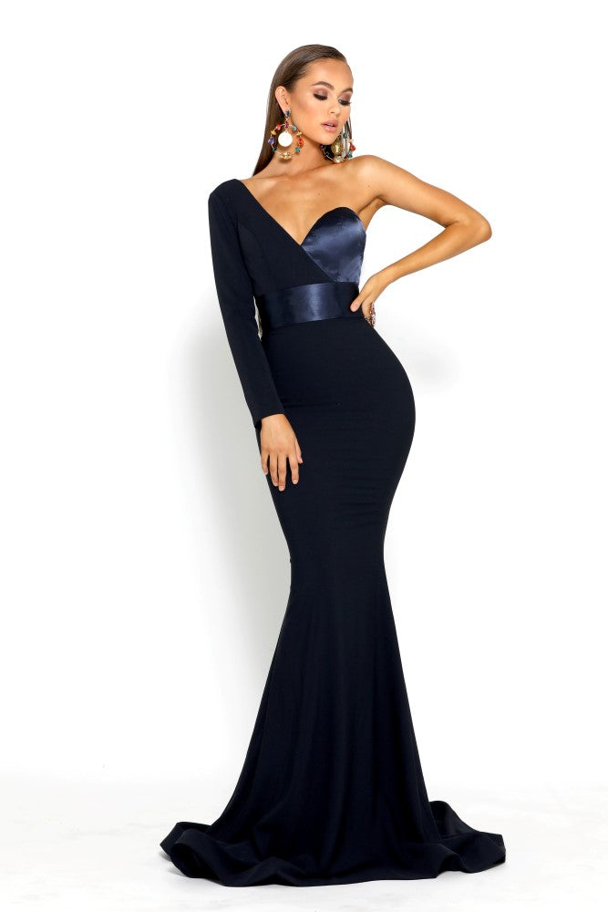 portia and scarlett ps1920 richie navy blue asymmetric sleeve bodycon mermaid train evening dress from shaide boutique london side