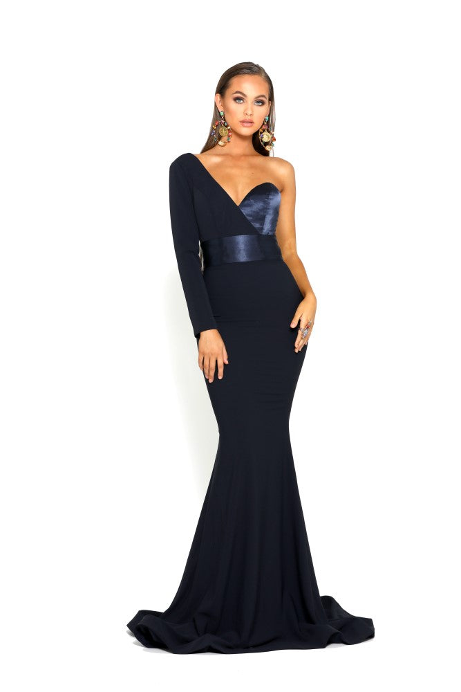 portia and scarlett ps1920 richie navy blue asymmetric sleeve bodycon mermaid train evening dress from shaide boutique london front