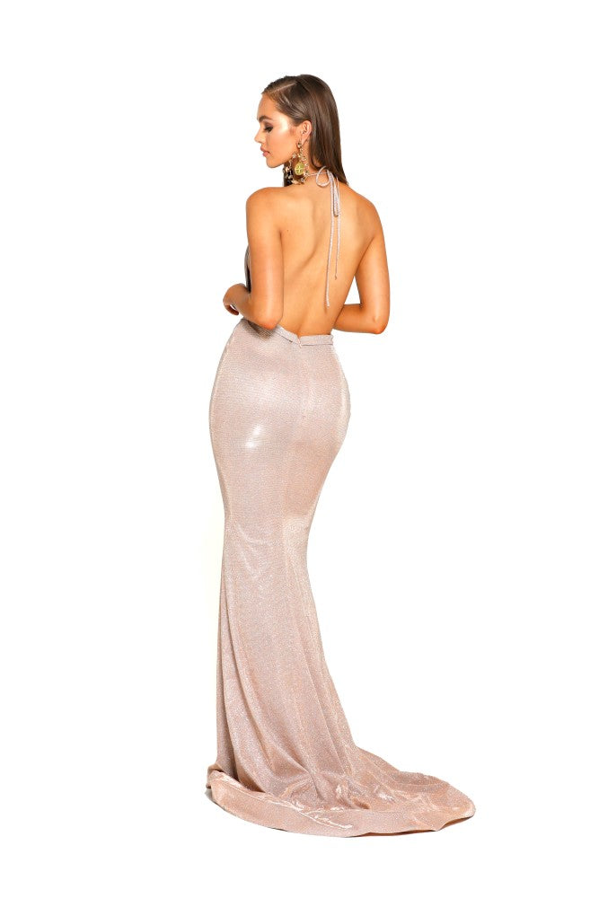 portia and scarlett 1924 sasu halterneck backless long gold evening dress at shaide boutique uk online back