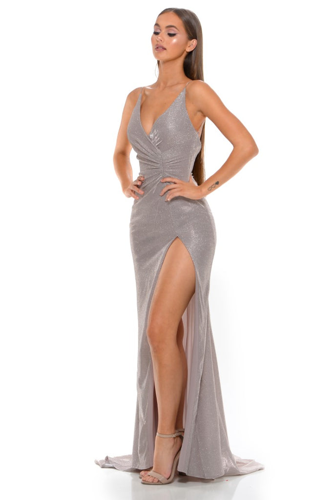 Portia and Scarlett Hugo 1927 Diamond gold wrap floor length maxi bodycon prom dress from shaide boutique uk side view