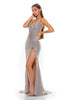 Portia and Scarlett Hugo 1927 Diamond gold wrap floor length maxi bodycon prom dress from shaide boutique uk second side view