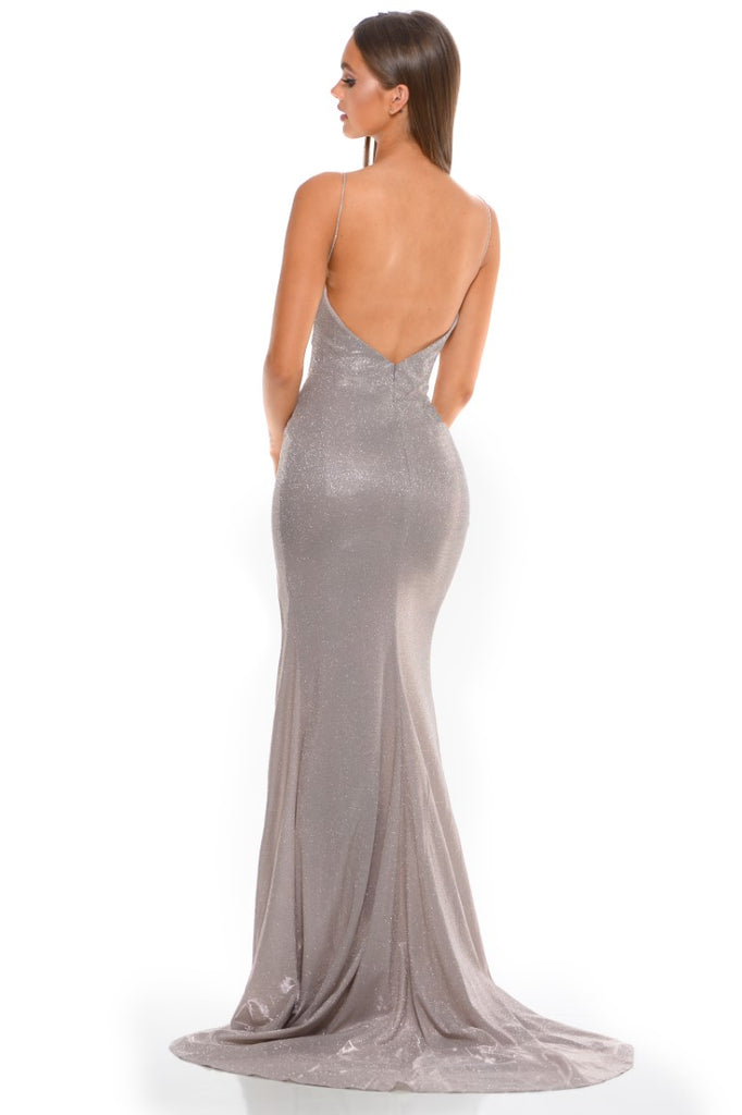 Portia and Scarlett Hugo 1927 Diamond gold wrap floor length maxi bodycon prom dress from shaide boutique uk back