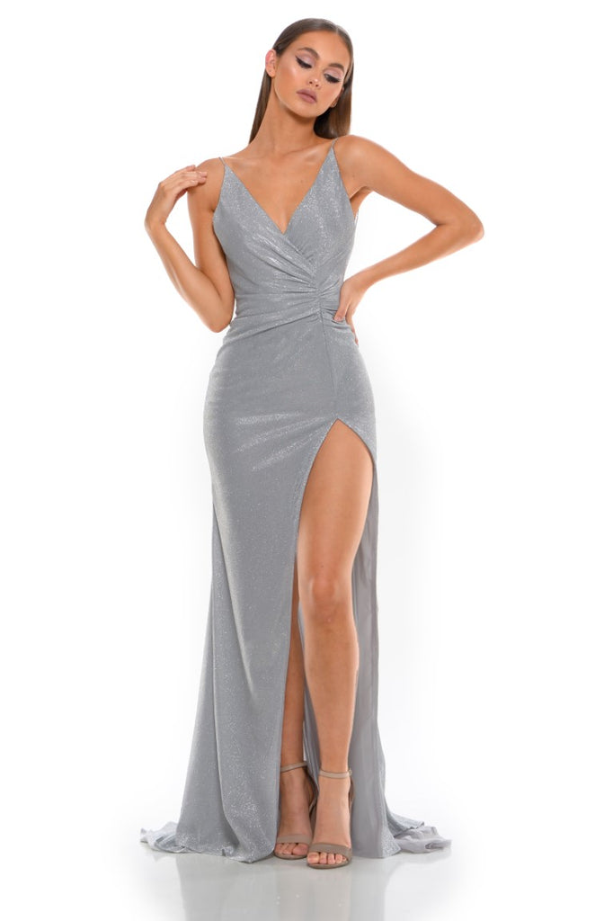 Portia and Scarlett Hugo 1927 Diamond silver wrap floor length maxi bodycon prom dress from shaide boutique uk front