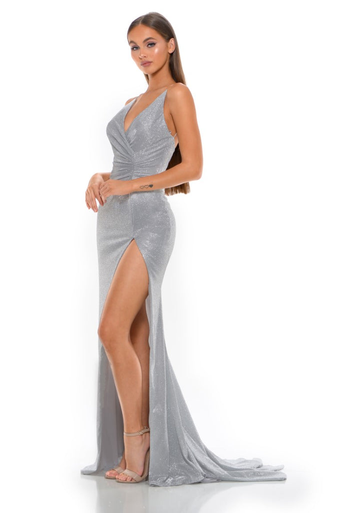 Portia and Scarlett Hugo 1927 Diamond silver wrap floor length maxi bodycon prom dress from shaide boutique uk side