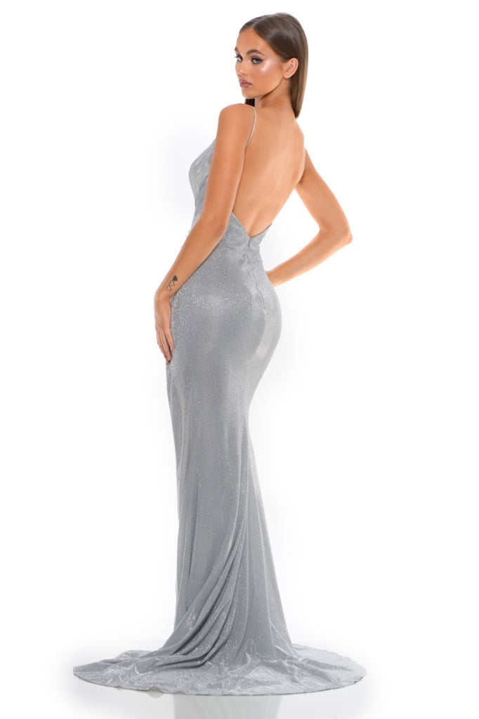 Portia and Scarlett Hugo 1927 Diamond silver wrap floor length maxi bodycon prom dress from shaide boutique uk back