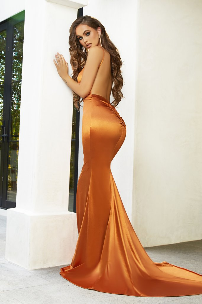 The Portia & Scarlett PS1934 gown burnt orange Grecian inspired formal gown from shaide boutique uk  back