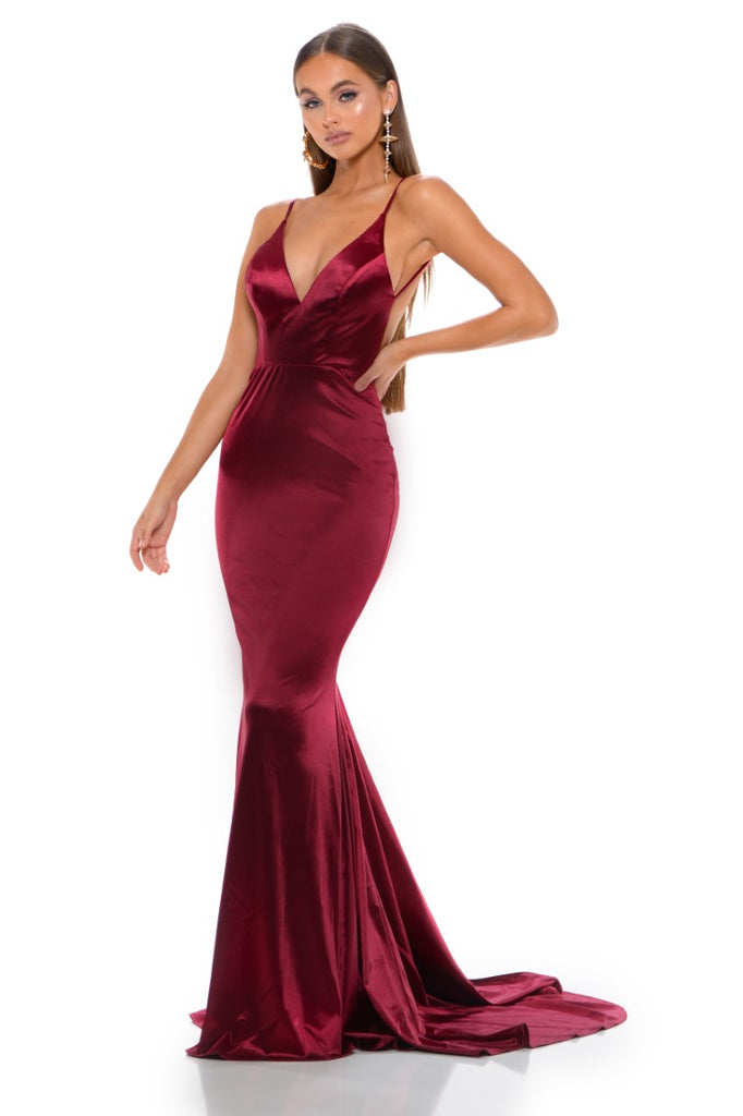 portia and scarlett cheryl ps1934 long red backless prom dress with mermaid train front