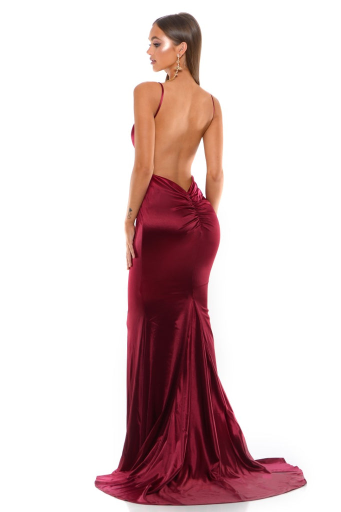 portia and scarlett cheryl ps1934 long red backless prom dress with mermaid train