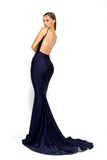 Portia & Scarlett Cheryl - Navy Blue evening gown bodycon prom dress backless